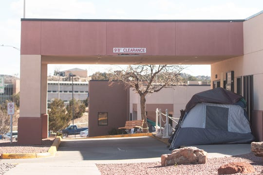 A screening tent sits in front of Rehoboth McKinley Christian Health Care Services' Red Rock Clinic in Gallup Friday, April 3.