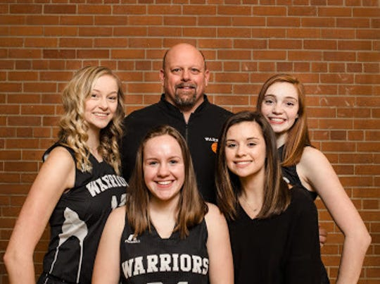 Lutheran Westland coach Keith Brown with his senior captains and assistant coach.