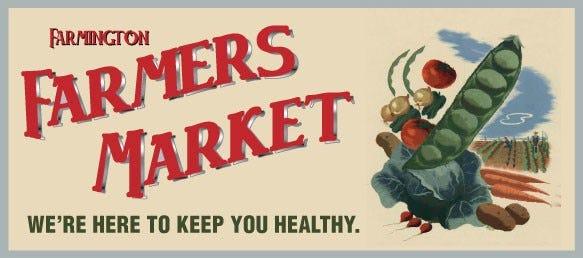 The Farmington Farmers Market logo promotes healthy eating.