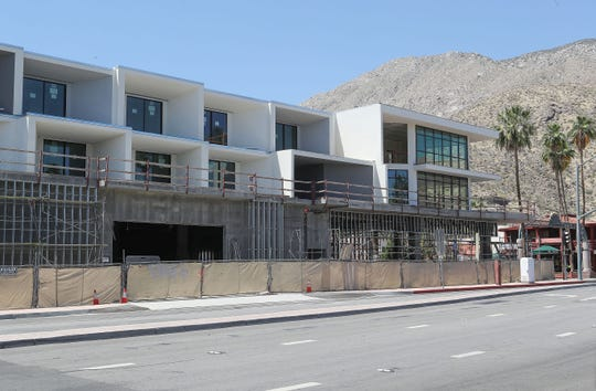 Construction has stalled on the Andaz Palm Springs hotel, May 12, 2020.