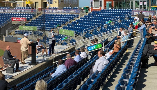 Pensacola Mayor Grover Robinson speaks Tuesday to downtown business owners at Blue Wahoos Stadium about safely reopening businesses amid the coronavirus pandemic.