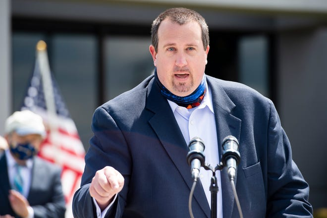 Pennsylvania State Representative Seth Grove (R-196) answers a question during a press conference at Gene Latta Ford in Berwick Township on Tuesday, May 12, 2020.