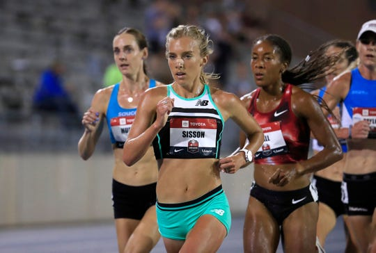 Molly Huddle, left, and Emily Sisson finished first and second in the 10,000-meter at the 2019 U.S. Outdoor Track Championships. Both train in Arizona, where Sisson now lives.