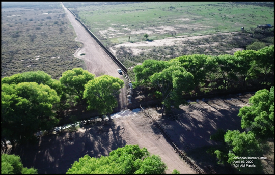 Drone shot of San Pedro river crossing the international border.