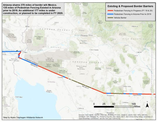 Existing and proposed border barriers along the Arizona-Mexico border.