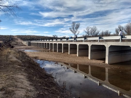 The international border all-weather patrol bridge over the Santa Cruz River east of Nogales.