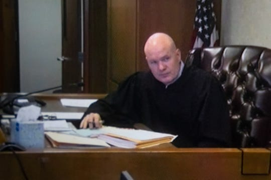 St. Clair County District Court Judge John Monaghan presides over a preliminary exam for Ronald Eugene Martin via Zoom Tuesday, May 12, 2020. Martin is being charged with five armed robbery counts and a felony firearms count for robbing five establishments in Port Huron and Port Huron Township from November to January.