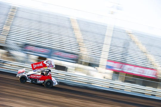 World of Outlaws driver Logan Schuchart races around Knoxville Raceway in Iowa on Friday. The Hanover native finished third in the event that was held without fans.