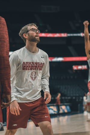 Former New Oxford High boys' basketball coach Sean Bair is shown here while he worked as a graduate assistant coach for the University of Arkansas men's basketball team in 2019. Bair was recently named an assistant coach for the Monmouth University women's basketball team.
