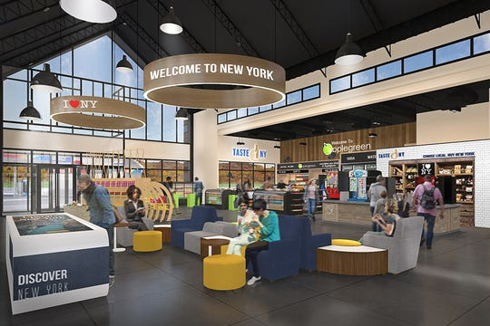 This artist's rendering shows what's in store for Thruway rest stops, which are set for a total overhaul as part of a $450 million deal approved May 12, 2020, by the NYS Thruway Authority.