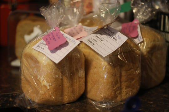Azariah Evans, also known as Ace, has some prepared loaves he has made that will be delivered today, Tuesday, May 12, 2020.  He makes the bread and his mother, Ta'Meca Dunning, takes the online orders.