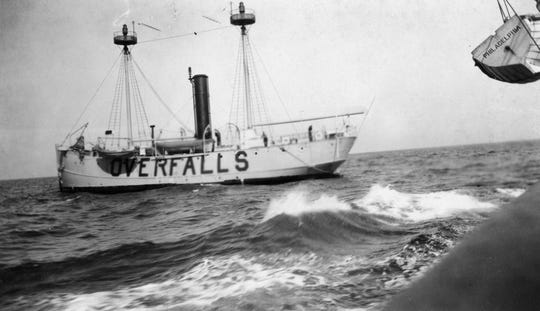 In 1892, the lightship Overfalls was anchored over the Overfalls Shoals to warn mariners away from the dangerous shallows.