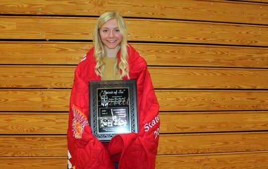Winner's Morgan Hammerbeck was named the Class A girls recipient of the Spirit of Su award.