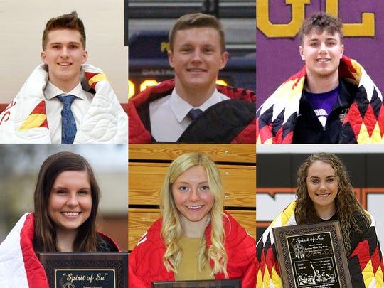 2020 Spirit of Su honorees (clockwise from top left): Cooper Cornemann, Yankton; Max Nielson, Sioux Valley; Nick Sayler, White River; Sydnie Schauer, Faith; Morgan Hammerbeck, Winner; Emma Osmundson, Lincoln