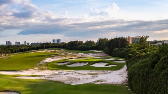 The fifth hole at Seminole Golf Club in Juno Beach, Florida. Rory McIlroy, Dustin Johnson, Rickie Fowler and Matthew Wolff will take part in a $4 million charity game at Seminole on Sunday, May 17, 2020, for COVID-19 relief efforts.