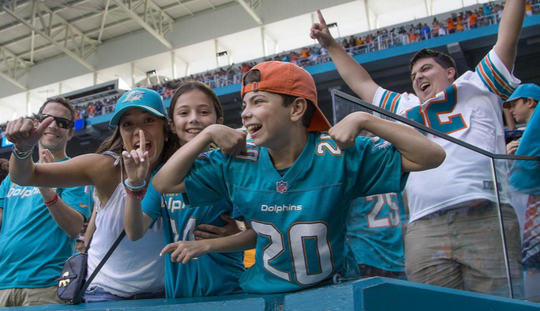 Dolphins celebrate a victory over the Jets in 2019.