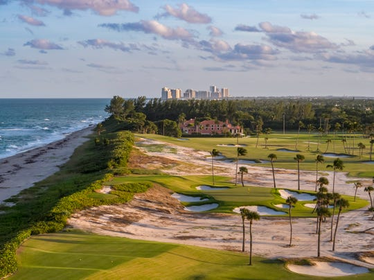 The 17th hole at Seminole Golf Club in Juno Beach, Florida. Rory McIlroy, Dustin Johnson, Rickie Fowler and Matthew Wolff will take part in a $4 million charity game at Seminole on Sunday, May 17, 2020, for COVID-19 relief efforts.
