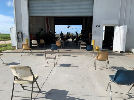 The St. Johns Improvement District literally held its annual meeting May 11, 2020, in the sunshine, outside and inside the district's shop, 955 122nd Avenue SW, Indian River County. The setup was necessary because of social distancing recommendations association with COVID-19.