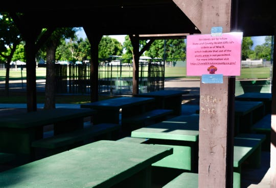 Picnic areas at Visalia's Whitendale Park are closed under the recommendation of the Tulare County Public Health Officer.