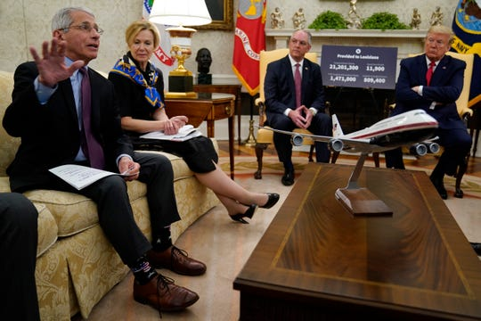 From left, National Institute of Allergy and Infectious Diseases Director Anthony Fauci, White House coronavirus response coordinator Dr. Deborah Birx, Louisiana Gov. John Bel Edwards and President Donald Trump on April 29, 2020.