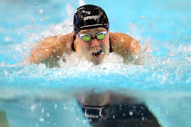 Lubbock High graduate Madisyn Cox competes in the women's 400-meter individual medley final during the TYR Pro Swim Series at Des Moines, Iowa, in March 2020. Cox is competing in the U.S. Olympic Trials this week in Omaha, Nebraska.