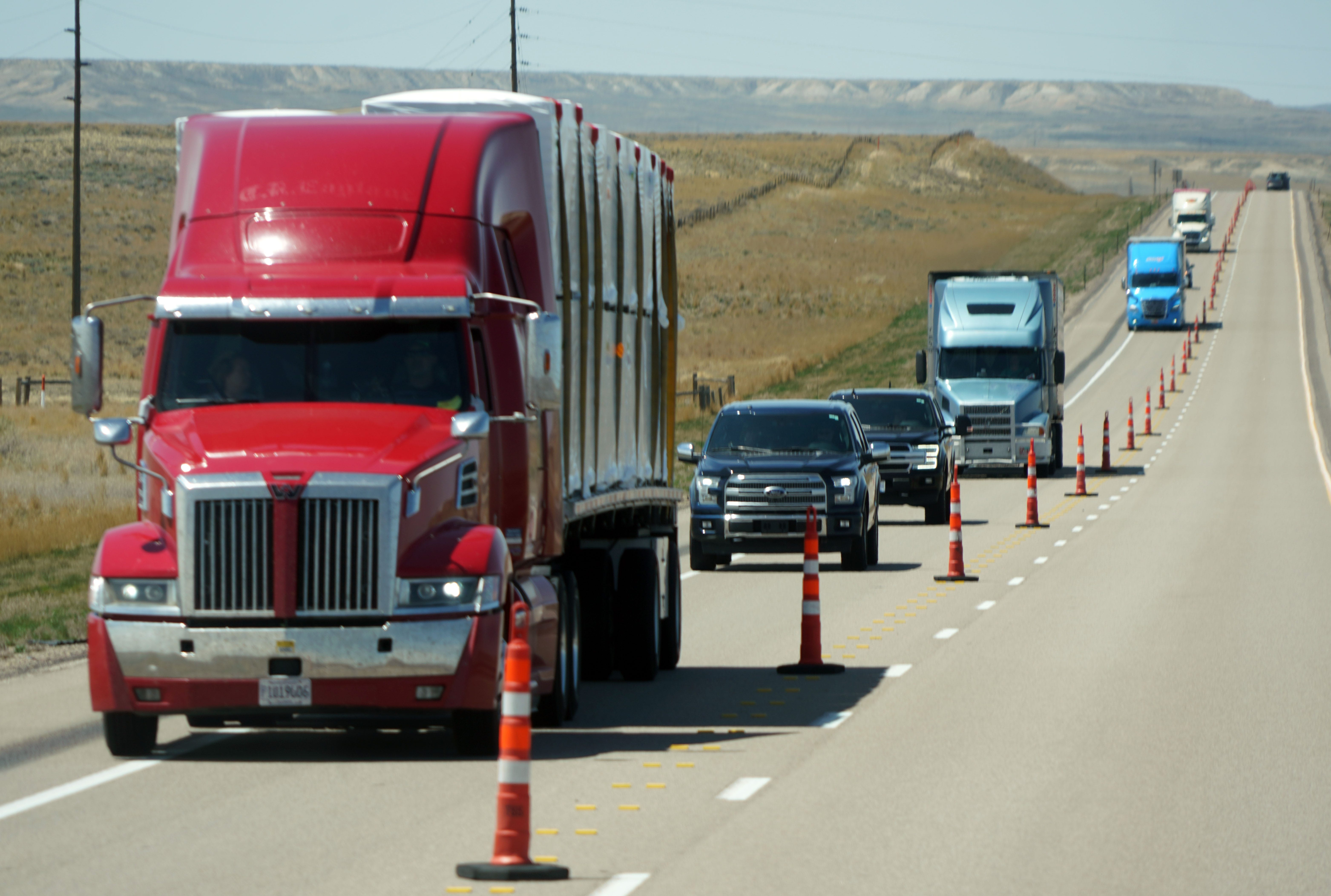 Semi-trailers outnumber passenger vehicles on a portion of Interstate 80 in Wyoming.