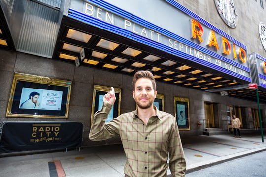 Ben Platt poses underneath the Radio City Music Hall marquee prior to his show in September.