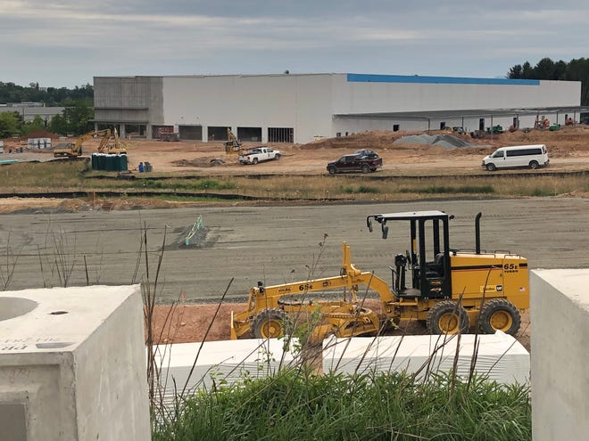 An Amazon distribution center is under construction May 13, 2020, in Mills River.