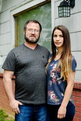 Michael and Harmony Owen pose for a photo in West Asheville May 13, 2020.