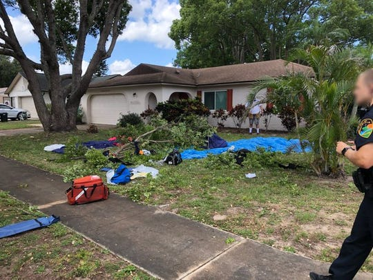 Brevard County Fire Rescue responded to the scene on Tennessee Street where two skydivers fell in a residential area around 11 a.m.