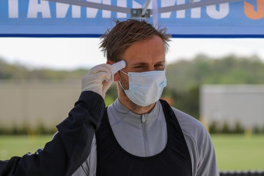 FC Cincinnati players received health screening for their optional individual workouts Wednesday, May 13, 2020 at the Mercy Health Training Center.