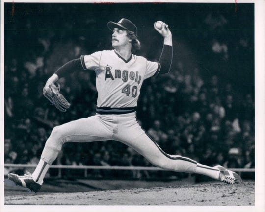 Frank Tanana pitches for the California Angels.