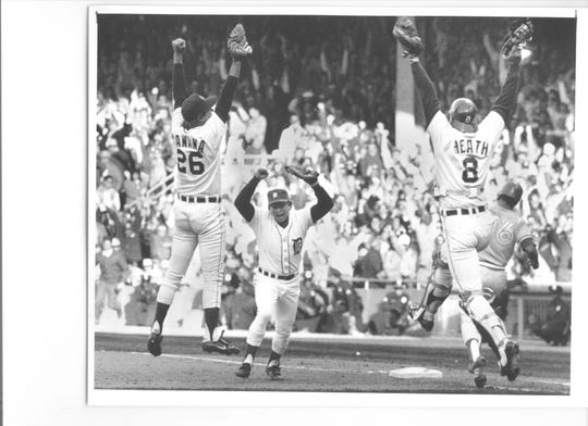 Tigers pitcher Frank Tanana (26) celebrates the final out of a 1-0 win over the Blue Jays to clinch the AL East division title Oct. 4, 1987 at Tiger Stadium.