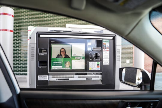 Keri Litner is a virtual bank teller that customers interact with at the interactive teller machine at Michigan State University Federal Credit Union in Berkley, Mich. photographed on Wednesday, May 13, 2020.