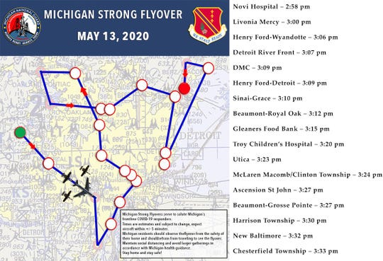 Schedule of the Michigan Strong, Hometown Air Force flyover.
