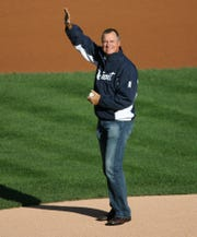 Frank Tanana during his ceremonial first pitch before Game 4 of the ALDS series at Comerica Park between the Tigers and A's, Oct. 8, 2013.