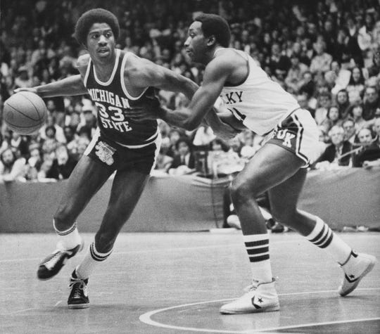 """Earvin """"Magic"""" Johnson (33) picked Michigan State over Michigan in a hotly contested recruiting battle in 1977."""