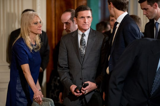 National Security Adviser Michael Flynn arrives in the East Room of the White House in this Feb. 13, 2017, file photo.