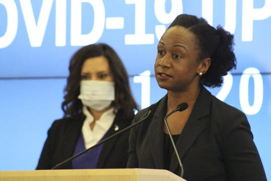 MDHHS Chief Deputy for Health and Chief Medical Executive Dr. Joneigh Khaldun speaks during a news conference, Wednesday, May 13, 2020.