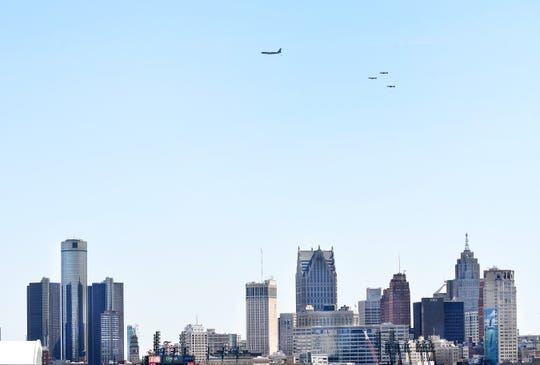 Michigan National Guard's 127th Air Wing with a KC-135 tanker and three A-10 Warthogs fly over  Detroit, Michigan on May 13, 2020.