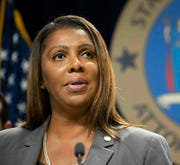 In this June 11, 2019, file photo, New York Attorney General Letitia James speaks during a news conference in New York. James is leading a suit with nine states suing the Trump administration for allegedly abdicating its responsibility to enforce U.S. environmental laws during the pandemic.