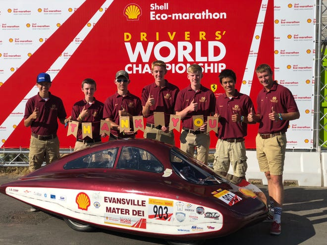 Mater Dei's Supermileage team competed at the Drivers' World Championships in London in July 2018.