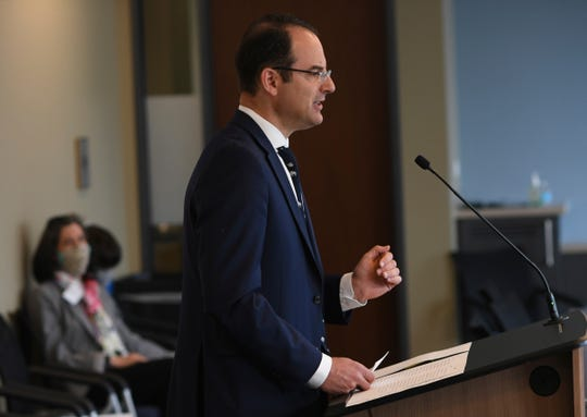Colorado Attorney General Phil Weiser presents arguments in the Baca faithless electors case through a conference call to members of the U.S. Supreme Court on Wednesday, May 13, 2020, in Denver, Colo.