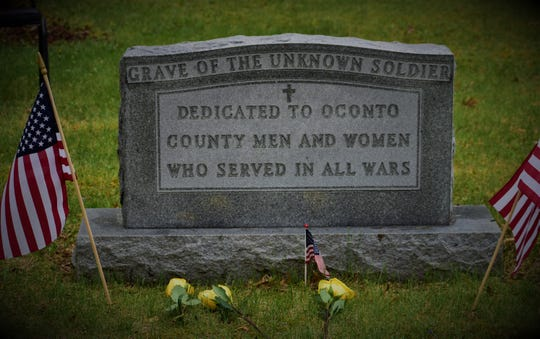 The marker of the Grave of the Unknown Soldier at Evergreen Cemetery in Oconto. A public Memorial Day program will not be held in Oconto and most other communities in Oconto County this year because of the pandemic.