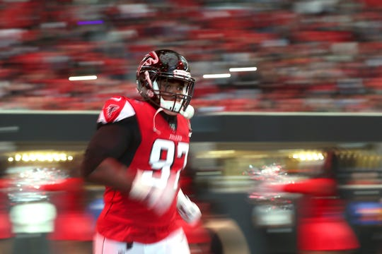 The Carolina Panthers will face former Clemson defensive tackle Grady Jarrett (97) , now with the Atlanta Falcons, twice during the 2020 season.
