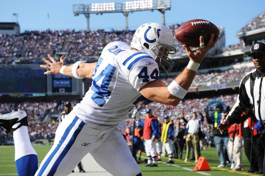 Most of Dallas Clark's 505 career NFL receptions came with the Indianapolis Colts.