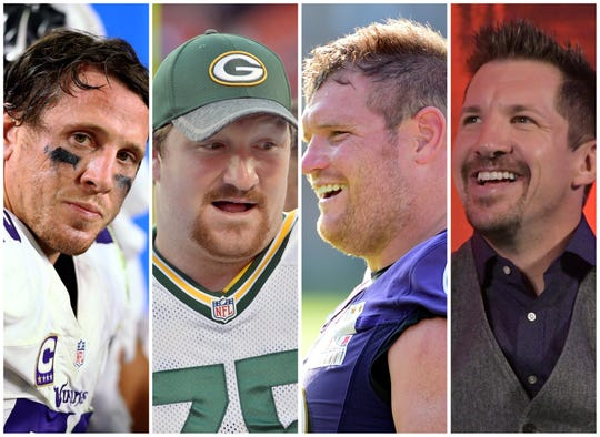 From left, Chad Greenway, Bryan Bulaga, Marshal Yanda and Dallas Clark all cracked the top 10 in Kirk Ferentz-era NFL earnings.
