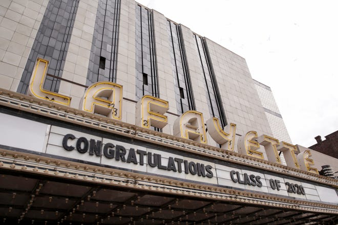 "The Lafayette Theater marquee reads ""Congratulations Class of 2020,"" Wednesday, May 13, 2020 in Lafayette."