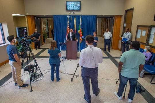 Lafayette Mayor President Josh Guillory speaking at press conference at City Hall. Wednesday, May 13, 2020.