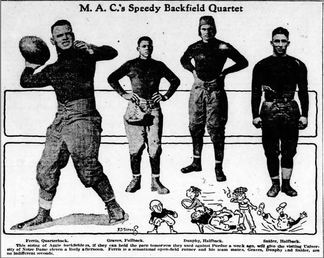 A graphic from a 1918 issue of the Lansing State Journal shows the backfield at the time of Michigan Agricultural College, which later became Michigan State University.